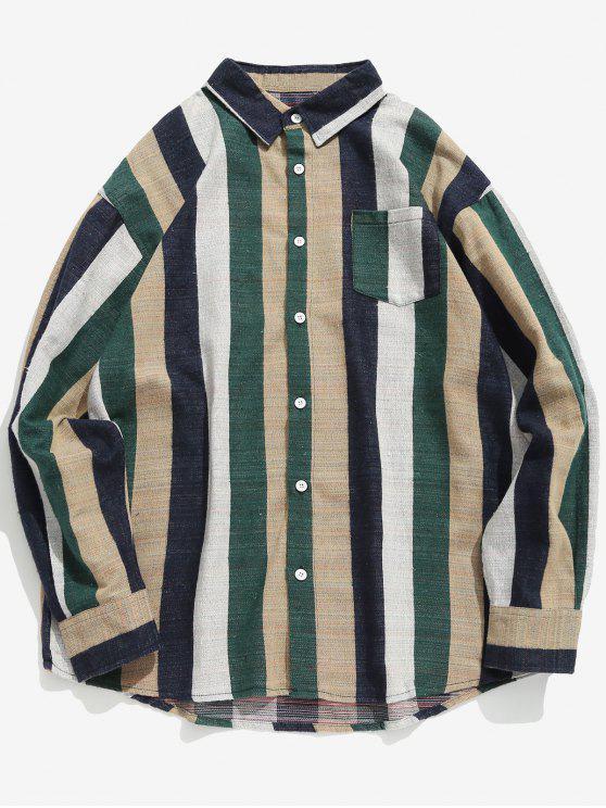 Kontrast vertikal gestreiftes Taschenhemd - Mittleres Meer Grün XL