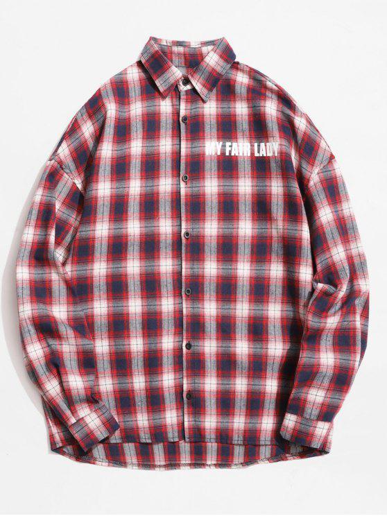 buy Reflective Strip Letter Plaid Shirt - CHESTNUT RED XL