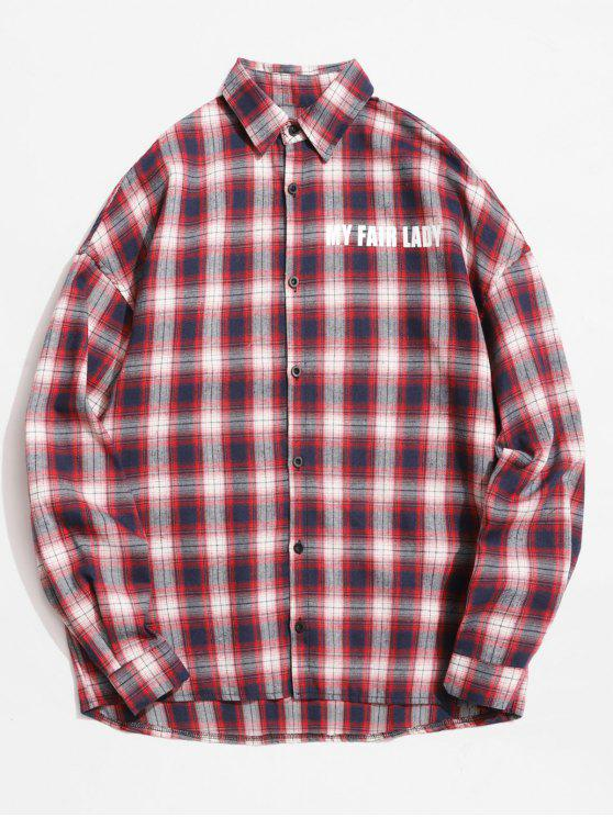 new Reflective Strip Letter Plaid Shirt - CHESTNUT RED M