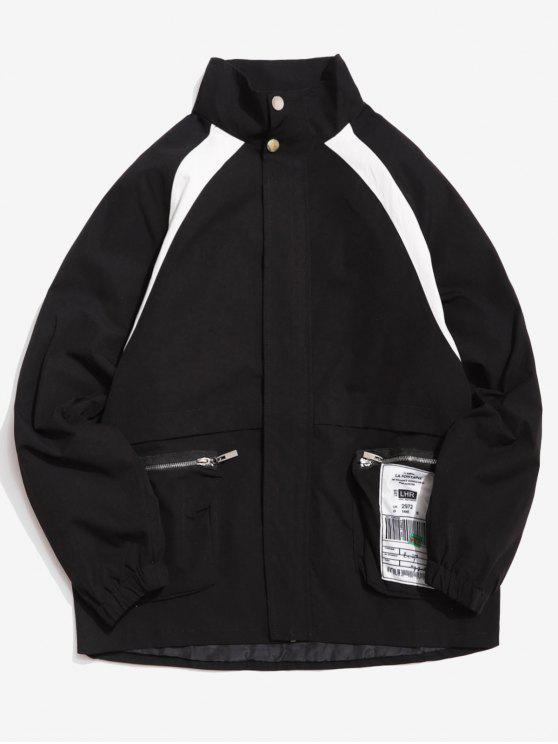 shop Contrast Zip Pocket Loose Jacket - BLACK 2XL