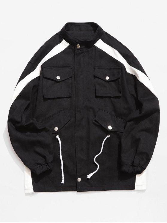 fashion Contrast Stripe Pockets Denim Jacket - BLACK L