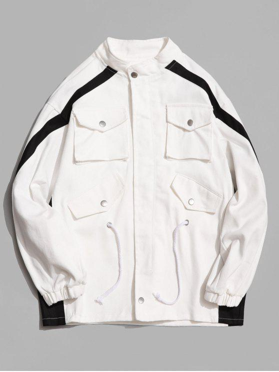 shop Contrast Stripe Pockets Denim Jacket - WHITE L