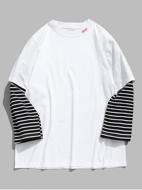 latest Striped Letter False Two Piece T-shirt - WHITE XL