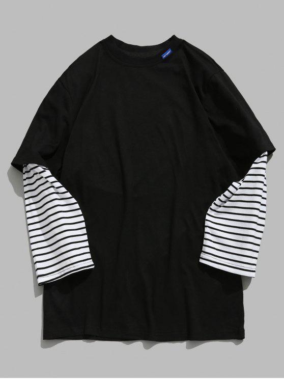T-shirt Lettre Rayée Fausse Deux Pièces - Noir L