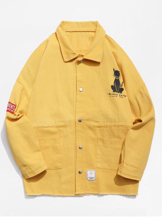 hot Button Fly Animal Pattern Jacket - MUSTARD 2XL