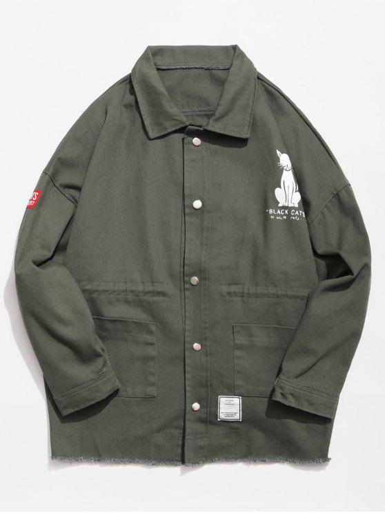 shop Button Fly Animal Pattern Jacket - ARMY GREEN XL