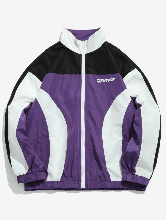 outfits Color Block Windproof Jacket - BLACK XL