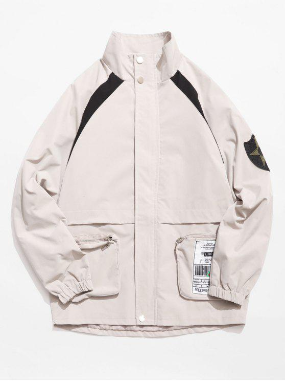 Veste ample à poche zippée contrastée - Gris Clair M