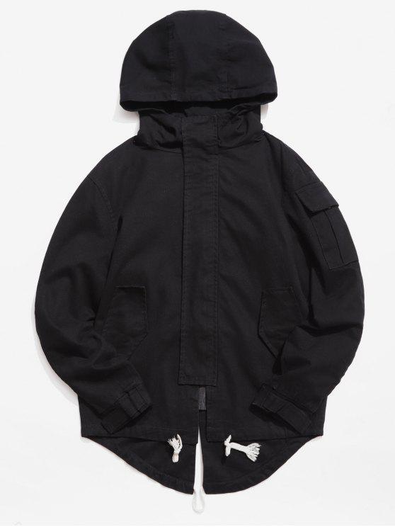 unique Back Split Hooded Trench Coat - BLACK M