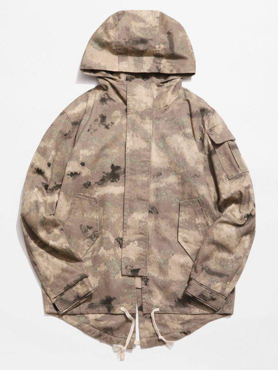 women's Back Split Hooded Trench Coat - ACU CAMOUFLAGE M