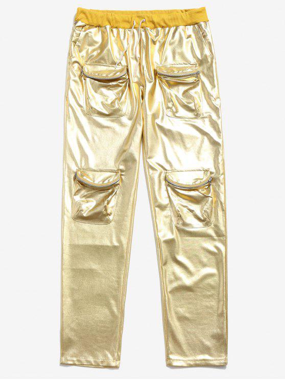 Pantalon de Jogging Métallique Zippé avec Poches à Cordon - Jaune 2XL