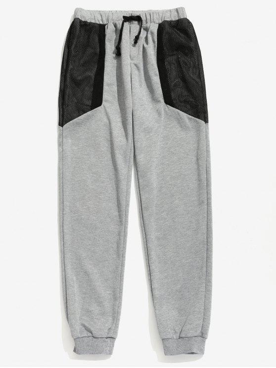 Pantaloni Con Coulisse E Pannello A Rete - Grigio 2XL