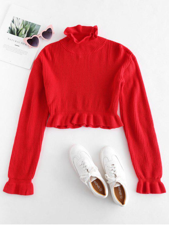 women's Solid Color Ruffles Crop Sweater - RED S