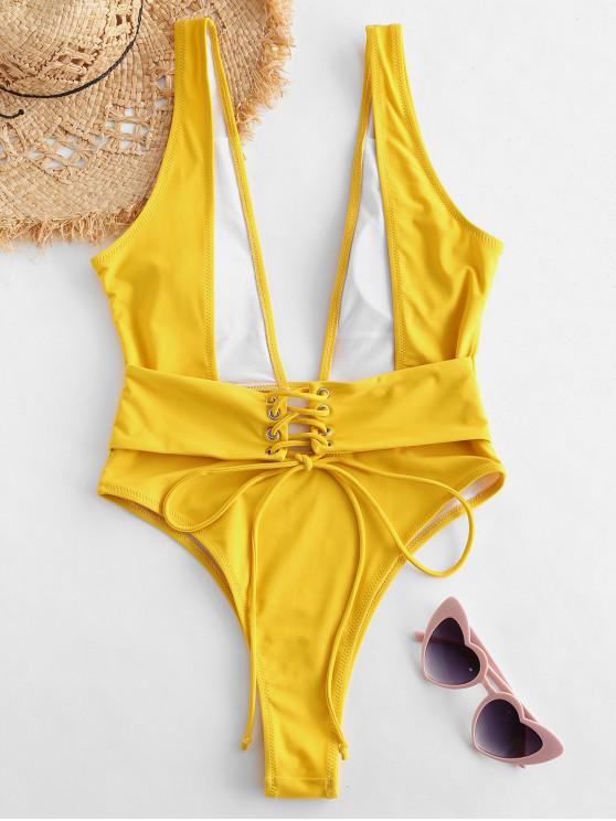 shop ZAFUL Plunging Lace Up Backless Swimsuit - BEE YELLOW L