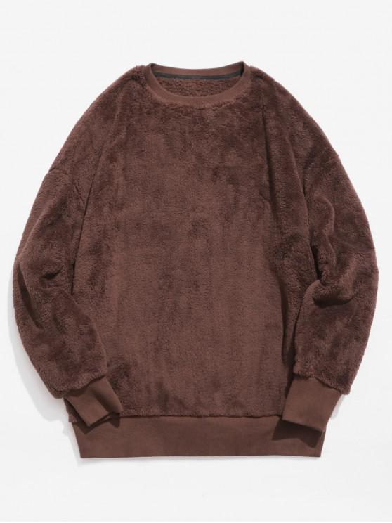 online ZAFUL Solid Crew Neck Fluffy Sweatshirt - SEPIA L