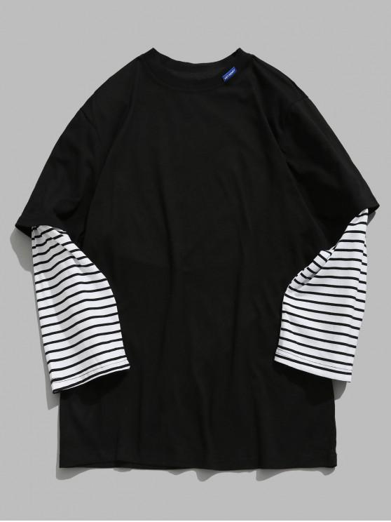 T-shirt Lettre Rayée Fausse Deux Pièces - Noir XL