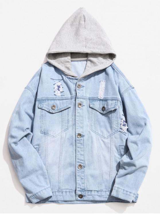 women's Hooded Button Fly Ripped Denim Jacket - PASTEL BLUE 2XL
