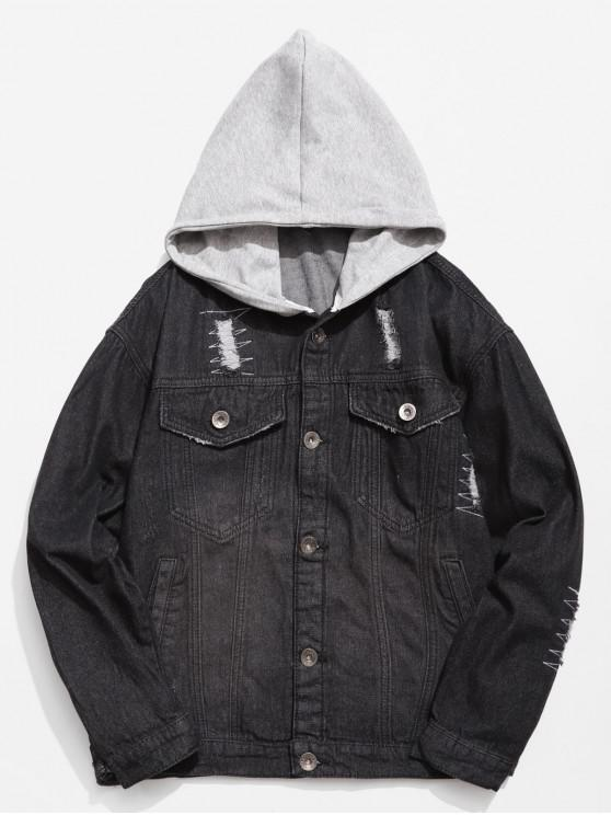 latest Hooded Button Fly Ripped Denim Jacket - BLACK M