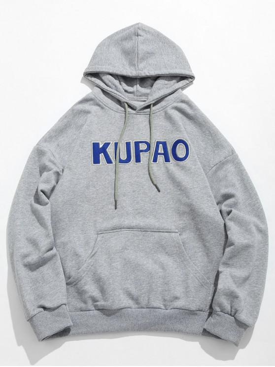 online Front Pocket Letter Embroidery Hoodie - GRAY CLOUD XL
