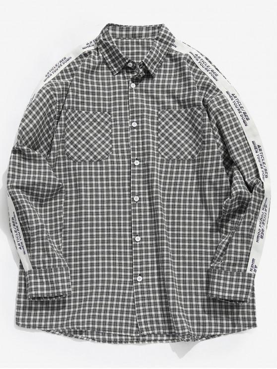 الجانب إلكتروني شريط خليط قميص منقوش - اللون الرمادي XL