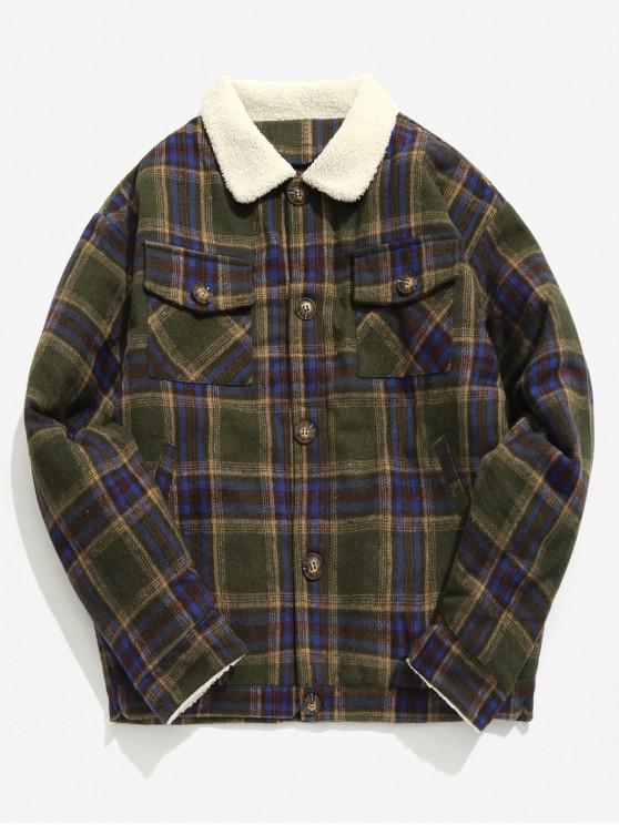 Edge Flauschige Plaid Woolen Jacke - Armeegrün M