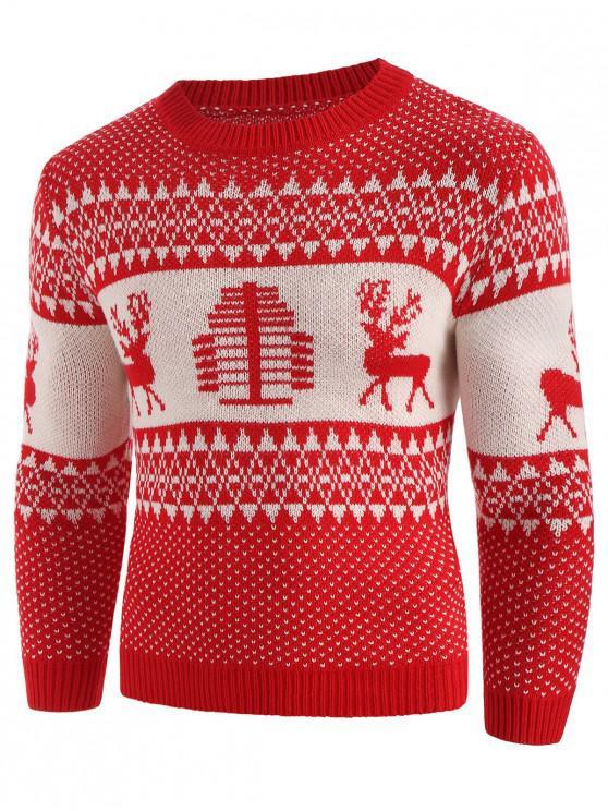 online Christmas Deer Print Crew Neck Sweater - CHESTNUT RED 2XL