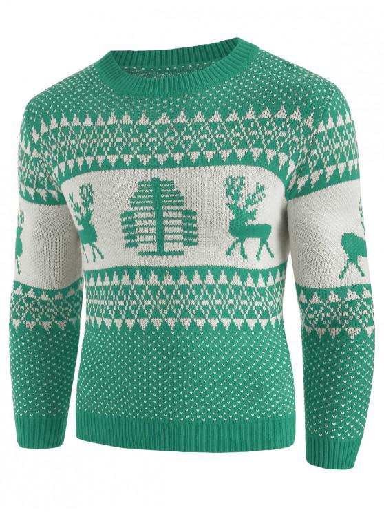 new Christmas Deer Print Crew Neck Sweater - GREEN APPLE 2XL