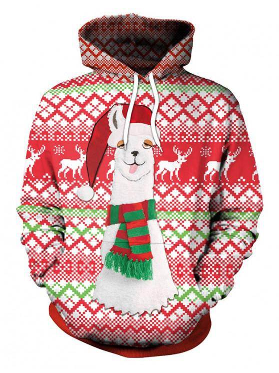 shop Christmas Cap Print Pullover Hoodie - RED L