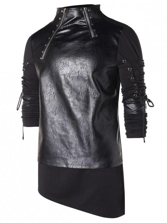 outfits High Low Hem Zippers Lace Up T-shirt - BLACK 2XL