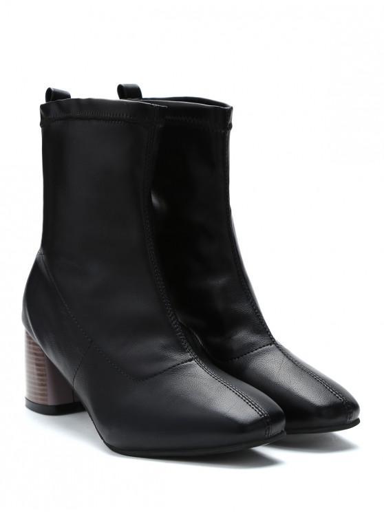 unique Chunky Heel Slip-on Short Boots - BLACK EU 38