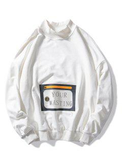 Waterproof Pocket Loose Casual Sweatshirt - White M