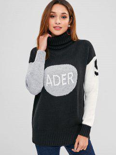 Color Block Turtleneck Letter Sweater - Black