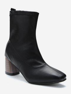 Chunky Heel Slip-on Short Boots - Black Eu 38