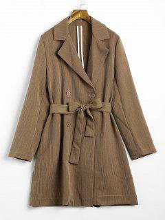 Double Breasted Stripes Trench Coat - Coffee L