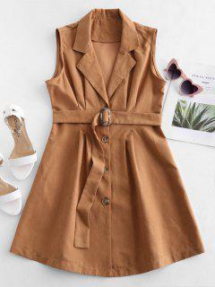 Sleeveless Blazer Dress - Caramel L