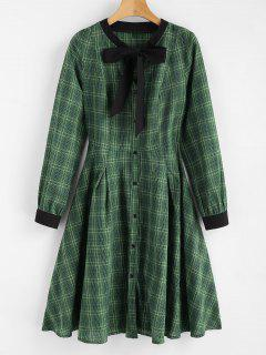 Plaid Bow Shirt Dress - Medium Forest Green L