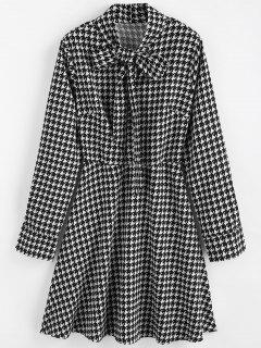 Bow Collar Houndstooth Dress - Multi L