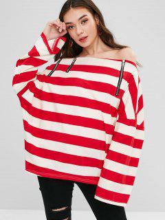 Off Shoulder Zipped Striped Oversized Top - Multi