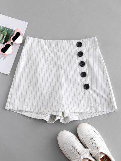 Faldas De Botón A Rayas - Blanco Xl