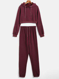 Stripes Hoodie And Jogger Pants Set - Maroon L