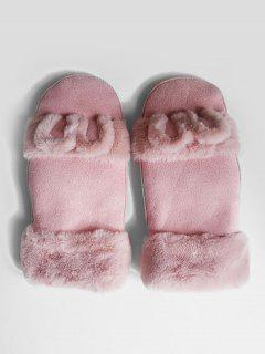 Winter Solid Color Fuzzy Mitten Gloves - Light Pink