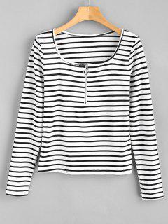 Camiseta A Rayas Con Media Cremallera - Blanco M
