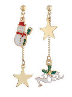 Christmas Snowman Star Alloy Drop Earrings - Gold
