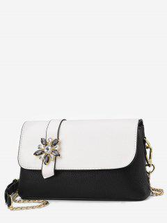Rhinestone Flower Panel Crossbody Bag - White