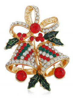 Christmas Bell Rhinestone Brooch - Multi