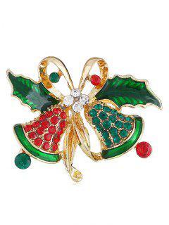 Rhinestone Christmas Bell Alloy Brooch - Gold