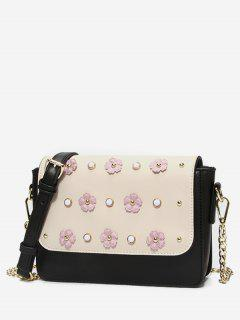 Color Block Flower Crossbody Bag - Warm White