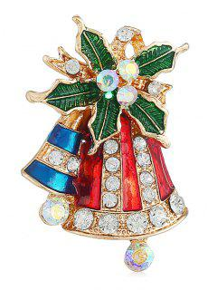 Christmas Bell Colored Rhinestone Party Brooch - Gold