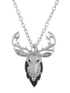 Christmas Elk Rhinestone Pendant Necklace - Silver