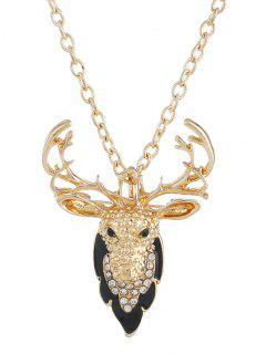Christmas Elk Rhinestone Pendant Necklace - Gold